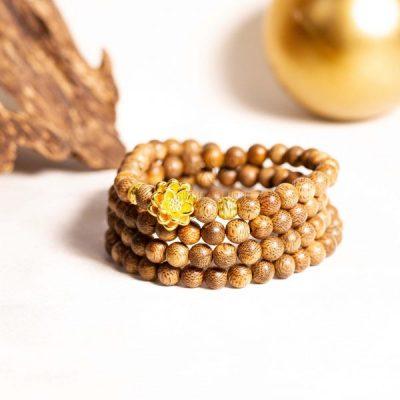 Dây chuỗi trầm hương sen vàng phú quý